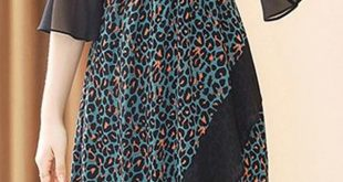 Leopard V-Neck Flare Sleeve Asymmetric Collect Waist Skater Dress