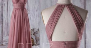Dusty Rose Bridesmaid Dress Wedding Dress Ruched High Neck Prom Dress Long Open Back Evening Gown Sleeveless A-line Chiffon Maxi Dress(J017)