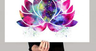 Arte de la flor de loto, Yoga arte decoración de flores de loto, Yoga acuarela arte, Buda arte, pared lámina acuarela, Yoga Poster (36)