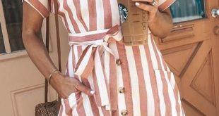 Depway Euramerican Striped Buttons Design - Rotes Minikleid