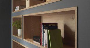Eingebaute Bücherregale mit Holz ausgekleidet markieren das angezeigte Dekor - ...