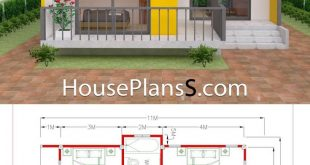 House Plans 7.5x11 with 2 Bedrooms Full plans