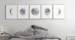 Mondphasen Drucken Wandkunst, Above Bed Art, Set of 5 Lunar Phases Print, Grey Black Watercolor Prints Home Decor, Bedroom Wall Art