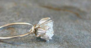 Roher Herkimer Diamantring, Hochzeitstag ihr, roher Kristallring für sie, Verlobung …